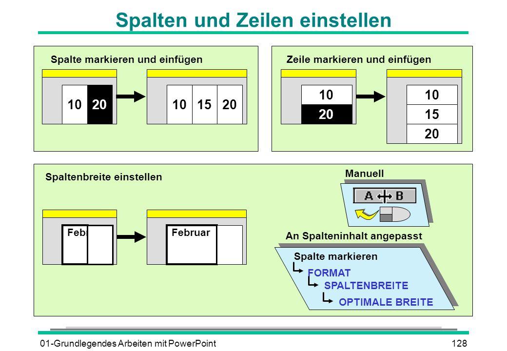 01-Grundlegendes Arbeiten mit PowerPoint128 Spalten und Zeilen einstellen 2010151020 Spalte markieren und einfügen 20 10 15 10 20 Zeile markieren und