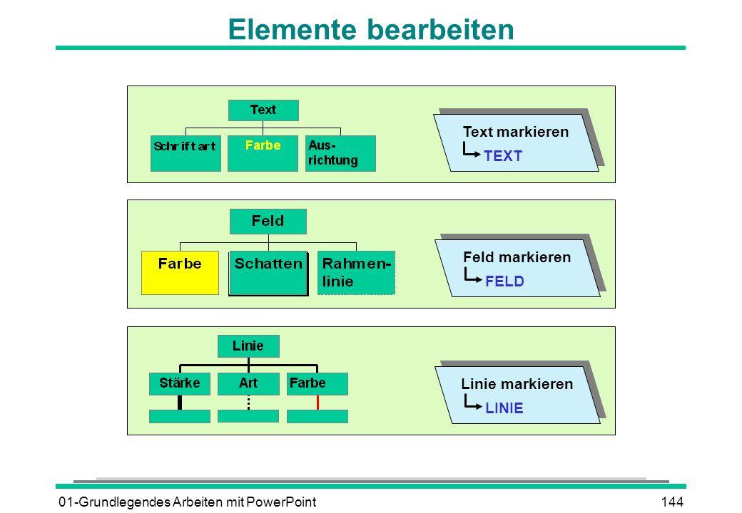 01-Grundlegendes Arbeiten mit PowerPoint144 Elemente bearbeiten TEXT Text markieren FELD Feld markieren LINIE Linie markieren