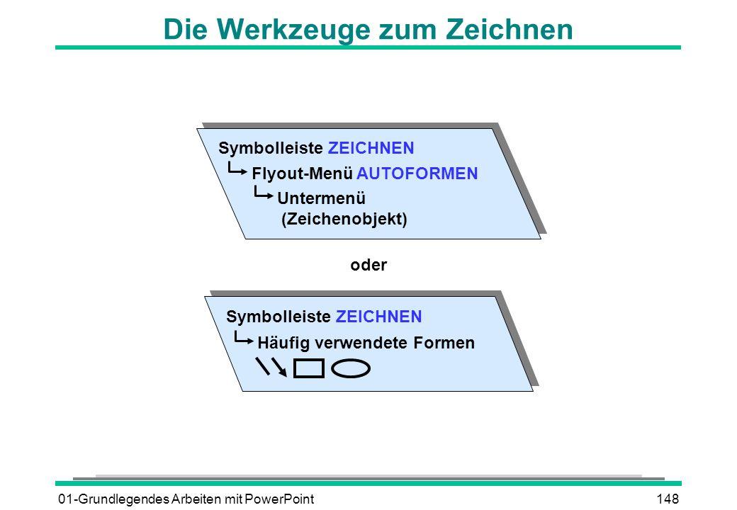 01-Grundlegendes Arbeiten mit PowerPoint148 Die Werkzeuge zum Zeichnen Symbolleiste ZEICHNEN Flyout-Menü AUTOFORMEN Untermenü (Zeichenobjekt) Symbolle