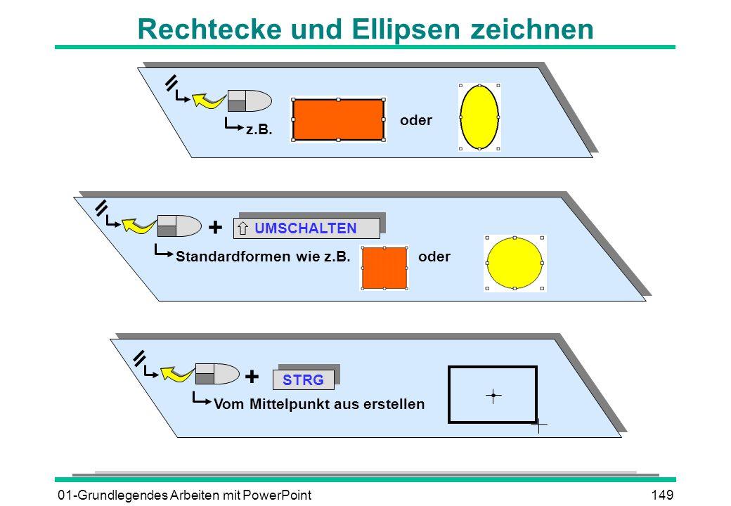 01-Grundlegendes Arbeiten mit PowerPoint149 z.B. oder UMSCHALTEN Standardformen wie z.B. oder + Rechtecke und Ellipsen zeichnen STRG Vom Mittelpunkt a