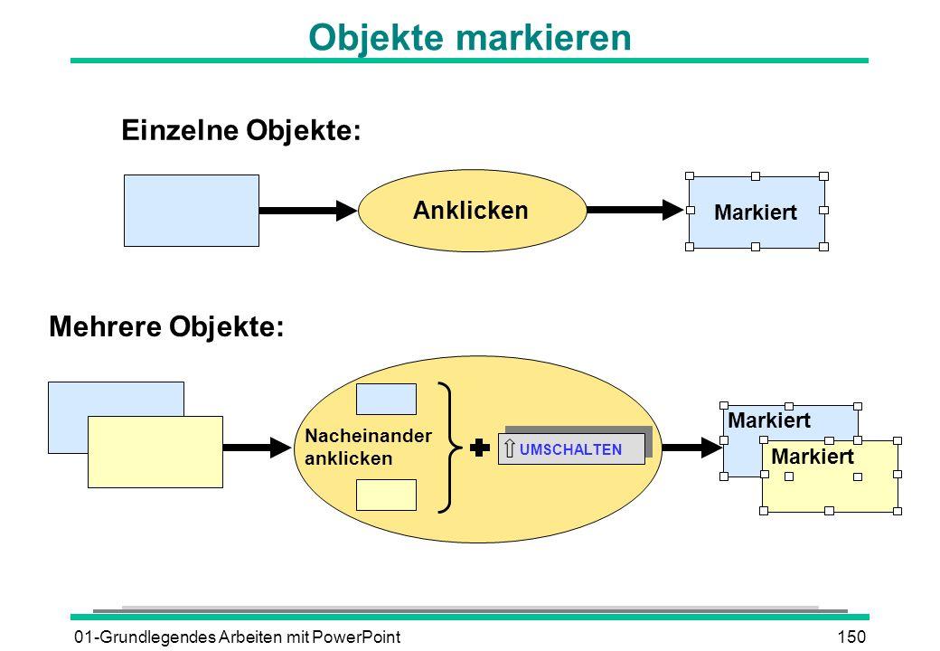 01-Grundlegendes Arbeiten mit PowerPoint150 Anklicken Markiert Einzelne Objekte: Nacheinander anklicken UMSCHALTEN Markiert Mehrere Objekte: Objekte m