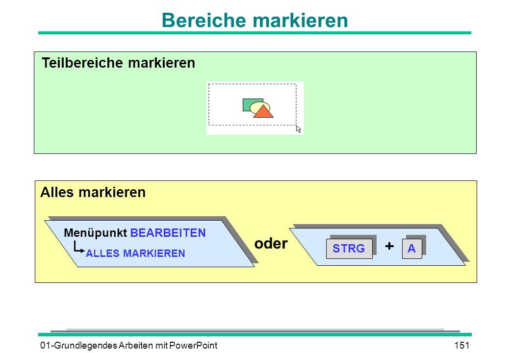 01-Grundlegendes Arbeiten mit PowerPoint151 Teilbereiche markieren Menüpunkt BEARBEITEN ALLES MARKIEREN STRG A A oder Alles markieren Bereiche markier
