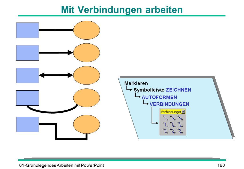 01-Grundlegendes Arbeiten mit PowerPoint160 Mit Verbindungen arbeiten Markieren Symbolleiste ZEICHNEN AUTOFORMEN VERBINDUNGEN