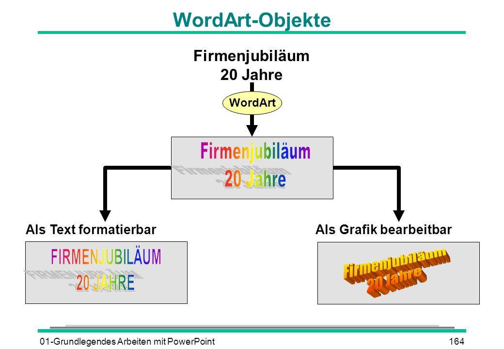 01-Grundlegendes Arbeiten mit PowerPoint164 Firmenjubiläum 20 Jahre Als Text formatierbar Als Grafik bearbeitbar WordArt WordArt-Objekte