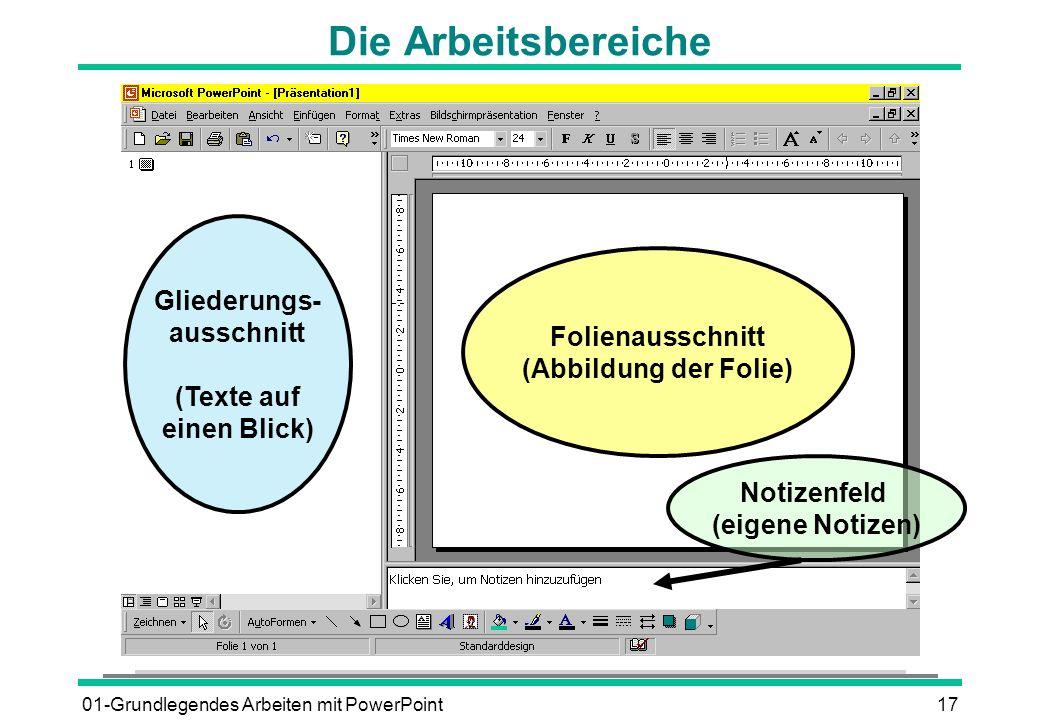 01-Grundlegendes Arbeiten mit PowerPoint17 Die Arbeitsbereiche Gliederungs- ausschnitt (Texte auf einen Blick) Folienausschnitt (Abbildung der Folie)