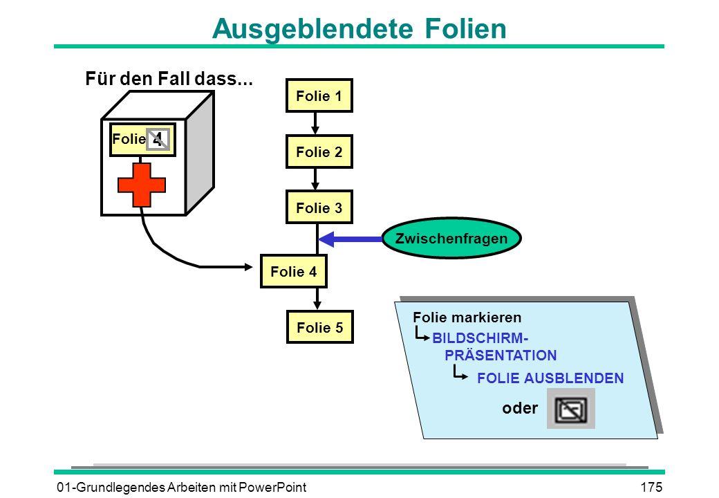 01-Grundlegendes Arbeiten mit PowerPoint175 Ausgeblendete Folien Zwischenfragen Folie 1 Folie 2 Folie 3 Folie 5 Folie 4 4 Folie Für den Fall dass... B