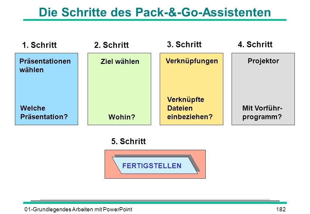 01-Grundlegendes Arbeiten mit PowerPoint182 Die Schritte des Pack-&-Go-Assistenten 1. Schritt 2. Schritt 3. Schritt Präsentationen wählen Ziel wählen