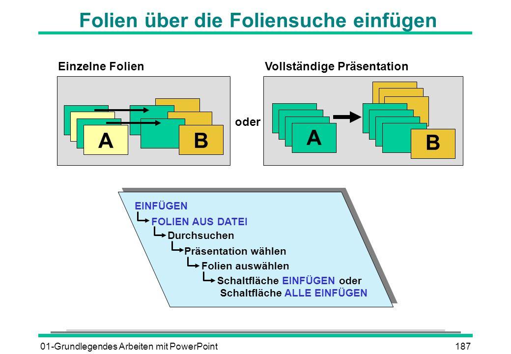 01-Grundlegendes Arbeiten mit PowerPoint187 Folien über die Foliensuche einfügen Einzelne Folien Vollständige Präsentation oder AB A B EINFÜGEN FOLIEN