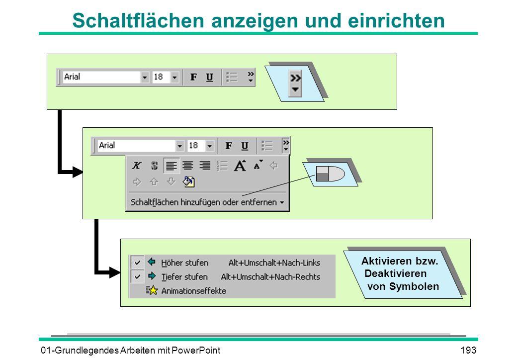 01-Grundlegendes Arbeiten mit PowerPoint193 Schaltflächen anzeigen und einrichten Aktivieren bzw. Deaktivieren von Symbolen