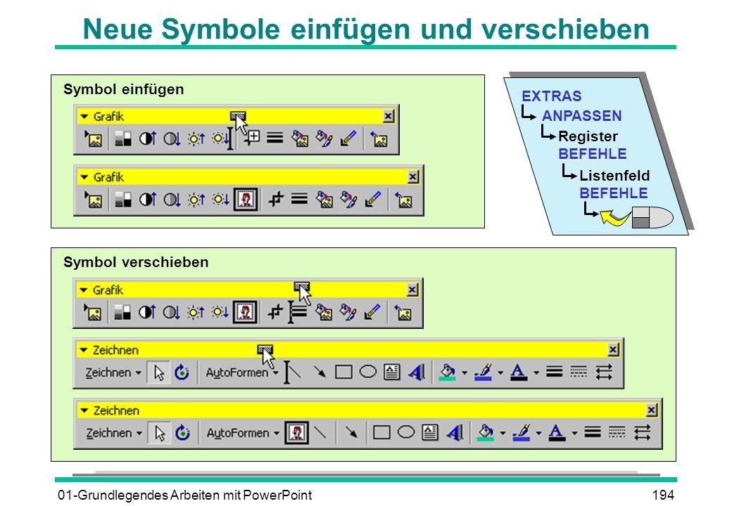 01-Grundlegendes Arbeiten mit PowerPoint194 Neue Symbole einfügen und verschieben EXTRAS ANPASSEN Register BEFEHLE Listenfeld BEFEHLE Symbol einfügen