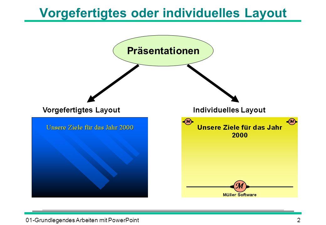 01-Grundlegendes Arbeiten mit PowerPoint2 Vorgefertigtes oder individuelles Layout Präsentationen Vorgefertigtes LayoutIndividuelles Layout