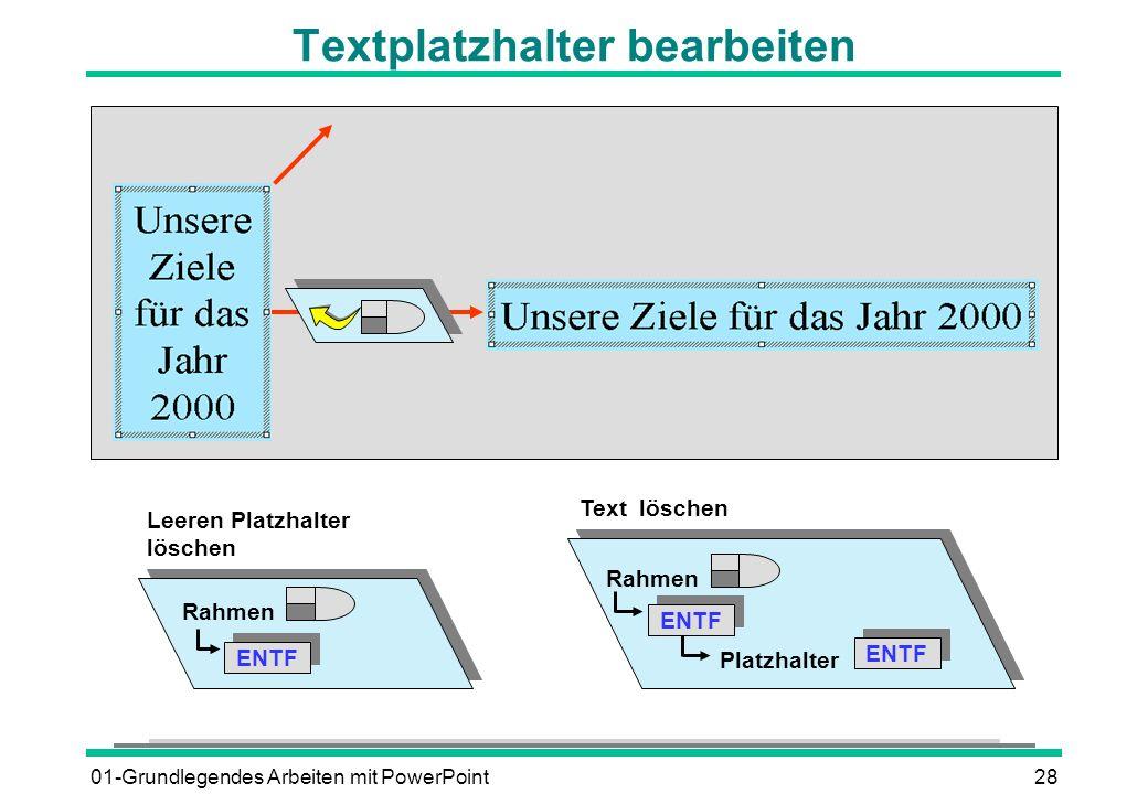 01-Grundlegendes Arbeiten mit PowerPoint28 Textplatzhalter bearbeiten Rahmen ENTF Leeren Platzhalter löschen Rahmen ENTF Text löschen ENTF Platzhalter