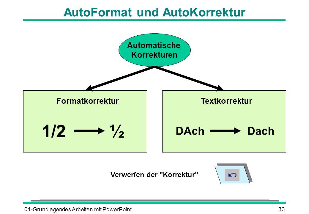 01-Grundlegendes Arbeiten mit PowerPoint33 AutoFormat und AutoKorrektur Automatische Korrekturen FormatkorrekturTextkorrektur 1/2½ DAchDach Verwerfen