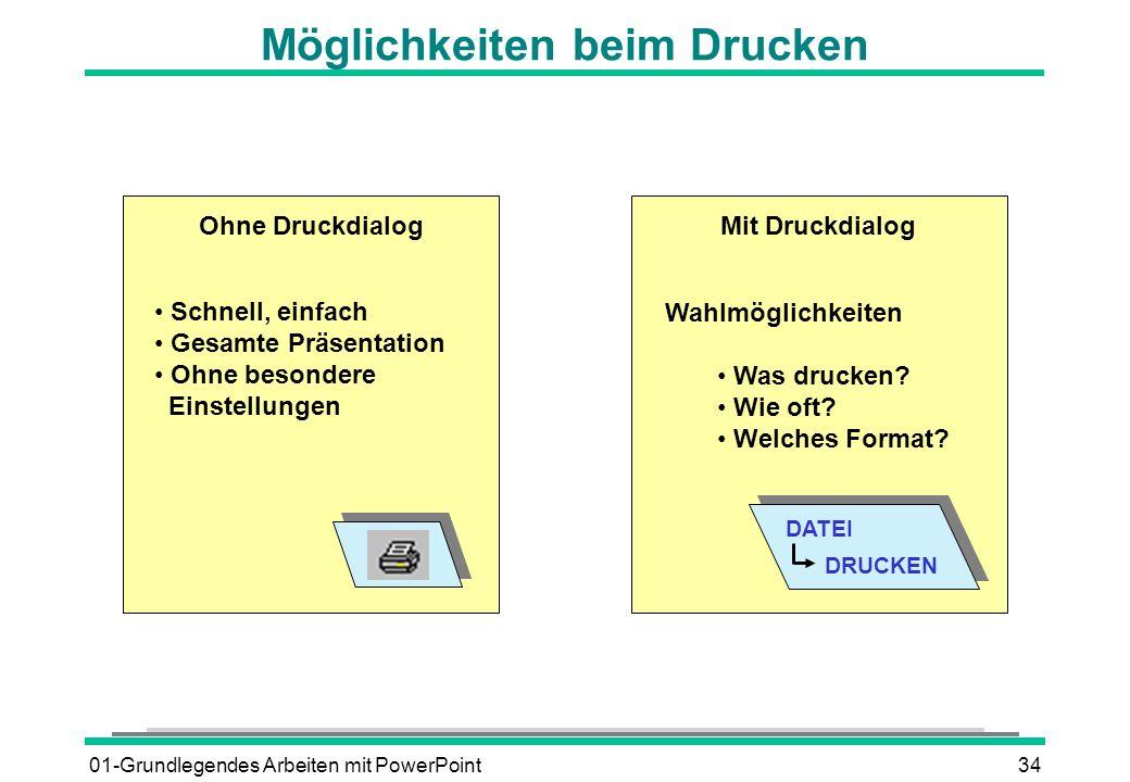 01-Grundlegendes Arbeiten mit PowerPoint34 Möglichkeiten beim Drucken Schnell, einfach Gesamte Präsentation Ohne besondere Einstellungen Ohne Druckdia