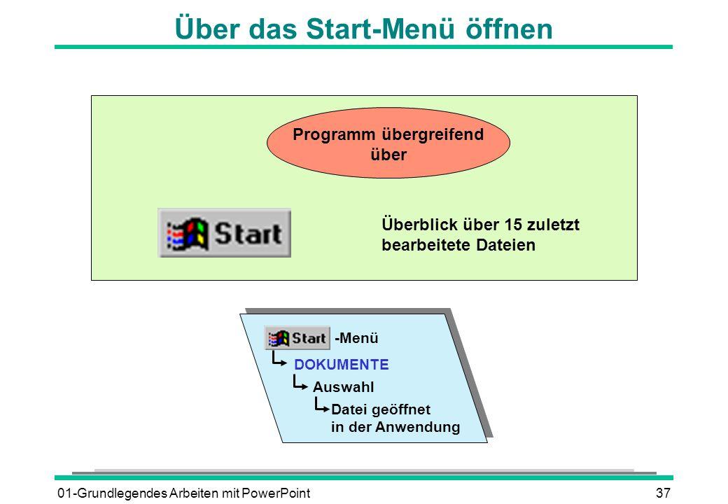 01-Grundlegendes Arbeiten mit PowerPoint37 Über das Start-Menü öffnen Programm übergreifend über Überblick über 15 zuletzt bearbeitete Dateien -Menü D
