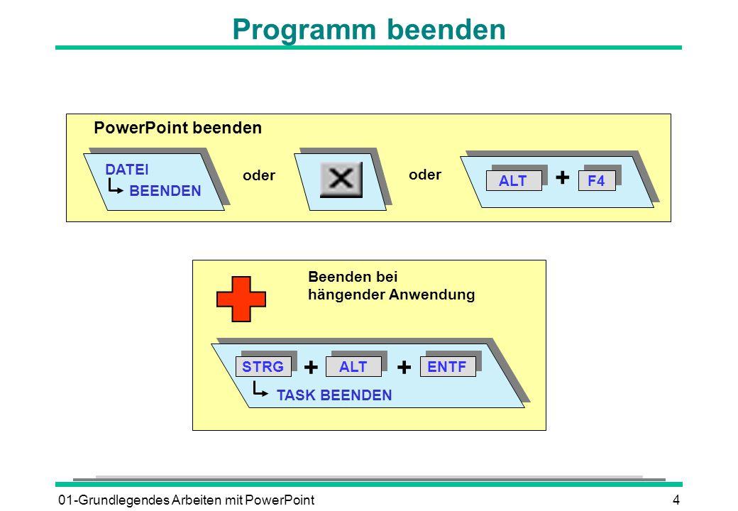 01-Grundlegendes Arbeiten mit PowerPoint4 Programm beenden PowerPoint beenden DATEI BEENDEN oder ALT + F4 oder Beenden bei hängender Anwendung ALT STR