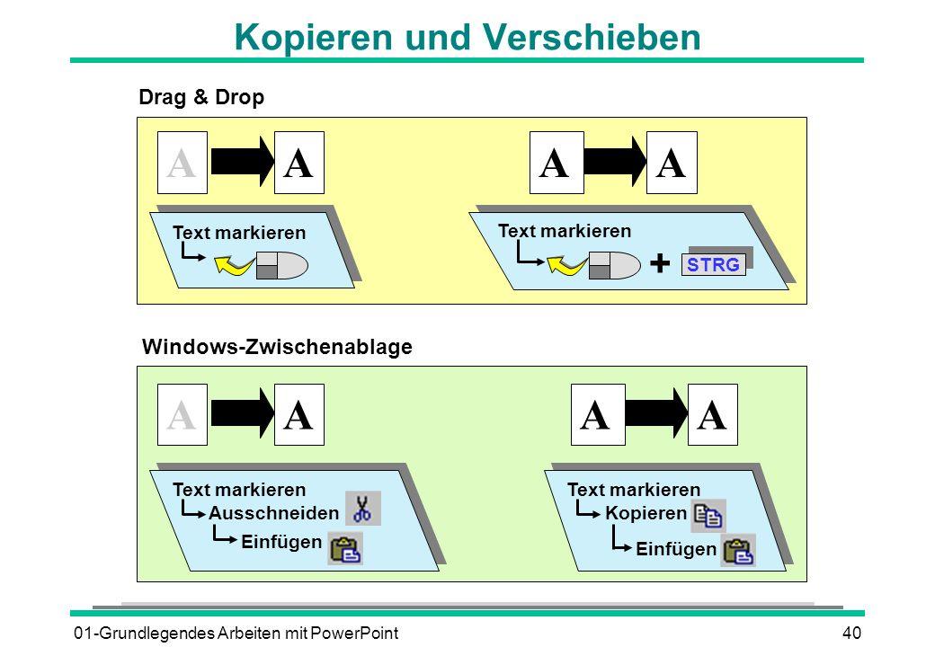 01-Grundlegendes Arbeiten mit PowerPoint40 Kopieren und Verschieben AAAA Drag & Drop Text markieren STRG Text markieren + Windows-Zwischenablage AAAA