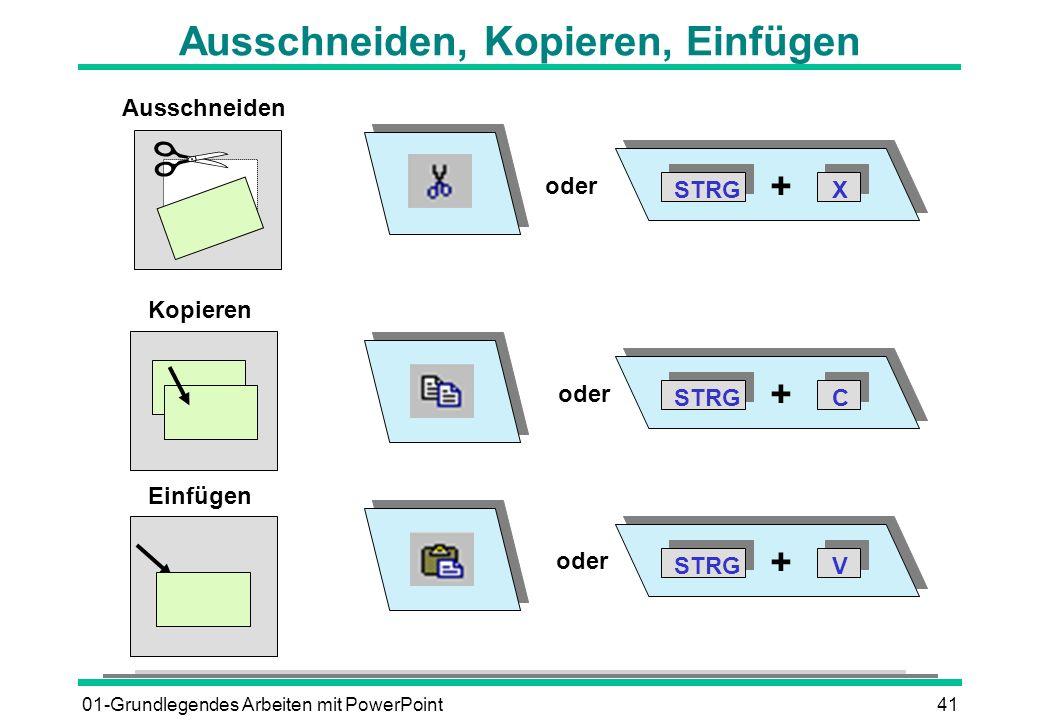 01-Grundlegendes Arbeiten mit PowerPoint41 Ausschneiden, Kopieren, Einfügen Ausschneiden STRGX + C + V + Einfügen Kopieren oder