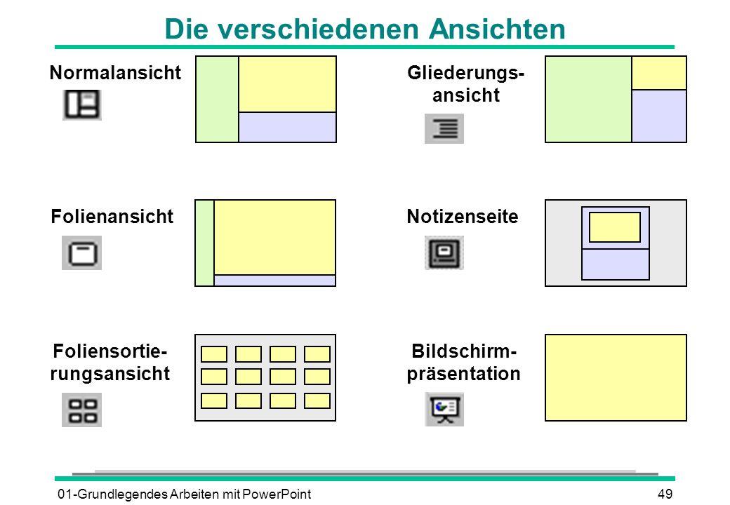 01-Grundlegendes Arbeiten mit PowerPoint49 Normalansicht Folienansicht Gliederungs- ansicht Foliensortie- rungsansicht Notizenseite Bildschirm- präsen