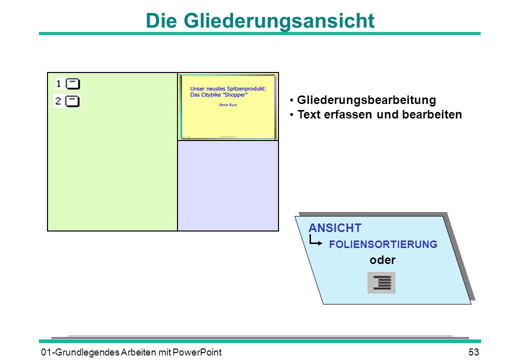01-Grundlegendes Arbeiten mit PowerPoint53 ANSICHT FOLIENSORTIERUNG oder Die Gliederungsansicht Gliederungsbearbeitung Text erfassen und bearbeiten