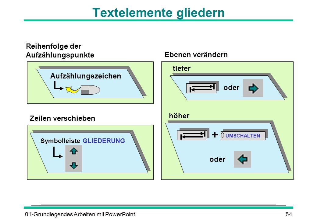 01-Grundlegendes Arbeiten mit PowerPoint54 Textelemente gliedern Zeilen verschieben Symbolleiste GLIEDERUNG Reihenfolge der Aufzählungspunkte Aufzählu