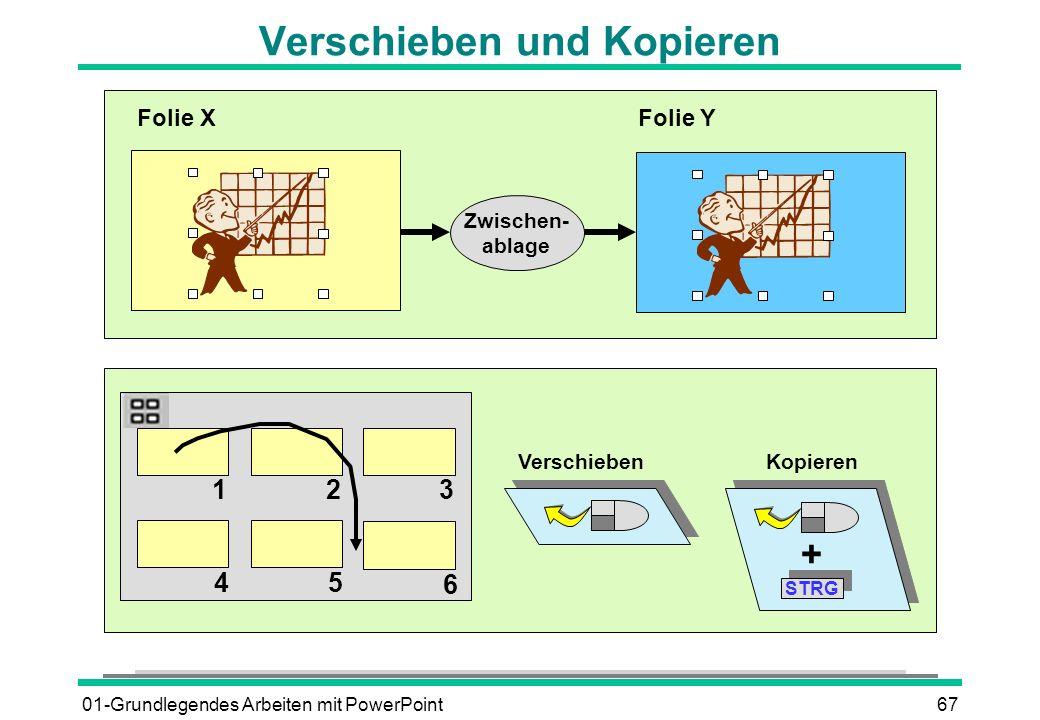 01-Grundlegendes Arbeiten mit PowerPoint67 Verschieben und Kopieren Zwischen- ablage Folie XFolie Y 123 45 6 VerschiebenKopieren + STRG