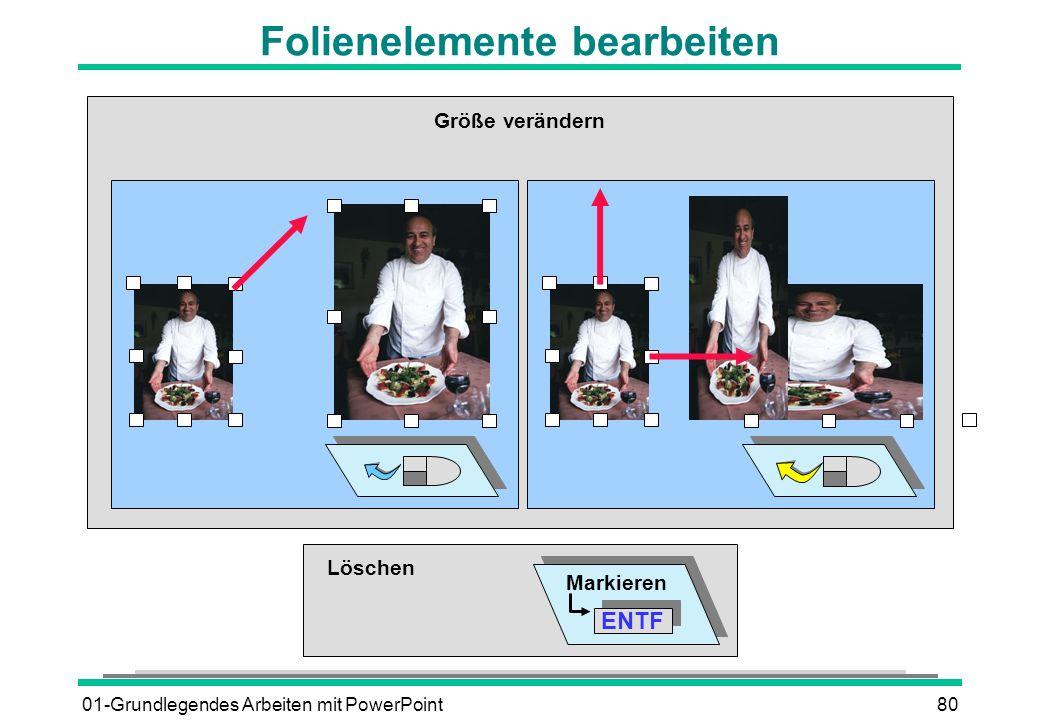 01-Grundlegendes Arbeiten mit PowerPoint80 Folienelemente bearbeiten Löschen Markieren ENTF Größe verändern