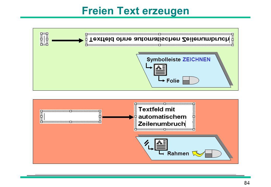 84 Freien Text erzeugen Symbolleiste ZEICHNEN Folie Rahmen