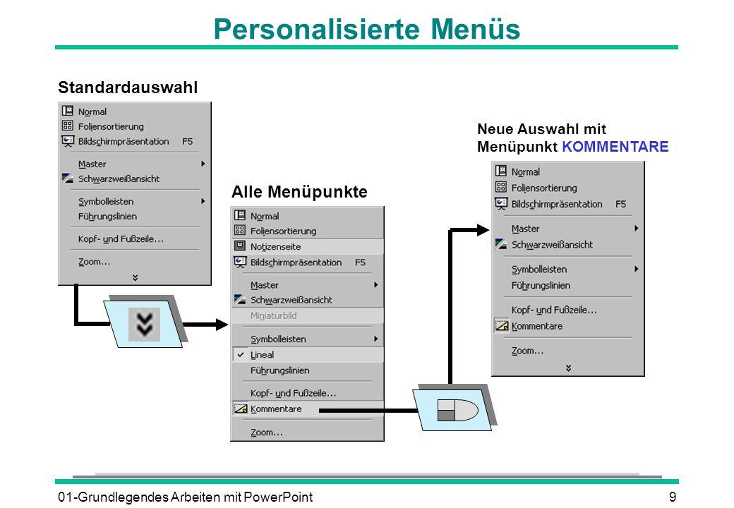 01-Grundlegendes Arbeiten mit PowerPoint9 Personalisierte Menüs Standardauswahl Alle Menüpunkte Neue Auswahl mit Menüpunkt KOMMENTARE