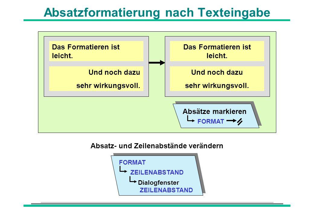 Absatzformatierung nach Texteingabe Das Formatieren ist leicht. Und noch dazu sehr wirkungsvoll. Absätze markieren FORMAT Das Formatieren ist leicht.