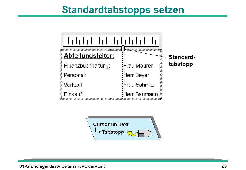 01-Grundlegendes Arbeiten mit PowerPoint95 Standardtabstopps setzen Standard- tabstopp Cursor im Text Tabstopp