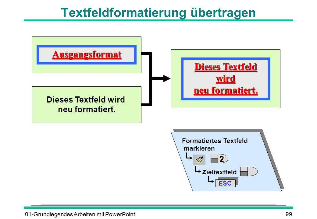 01-Grundlegendes Arbeiten mit PowerPoint99 Textfeldformatierung übertragenAusgangsformat Dieses Textfeld wird neu formatiert. Dieses Textfeld wird neu