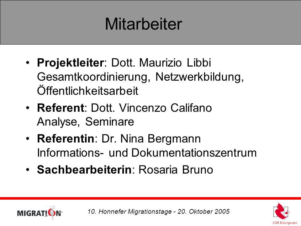 DGB Bildungswerk 10. Honnefer Migrationstage - 20. Oktober 2005 Arbeitsweise und Methoden