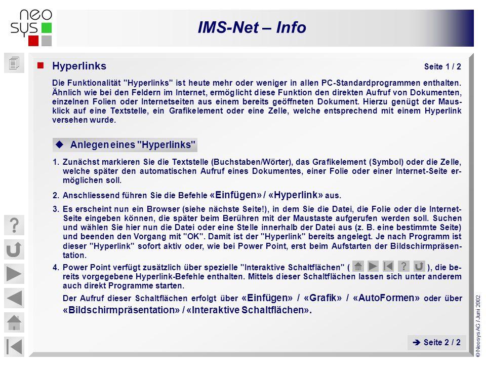 IMS-Net – Info © Neosys AG / Juni 2002 Hyperlinks Seite 1 / 2 Die Funktionalität