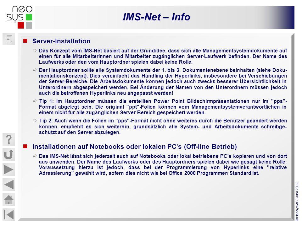 IMS-Net – Info © Neosys AG / Juni 2002 Server-Installation Das Konzept vom IMS-Net basiert auf der Grundidee, dass sich alle Managementsystemdokumente