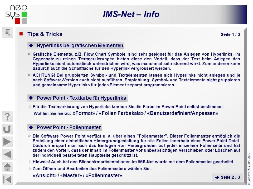 IMS-Net – Info © Neosys AG / Juni 2002 Tips & Tricks Seite 1 / 3 Hyperlinks bei grafischen Elementen Grafische Elemente, z.B. Flow Chart Symbole, sind