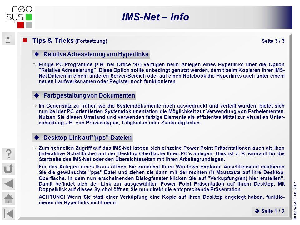 IMS-Net – Info © Neosys AG / Juni 2002 Relative Adressierung von Hyperlinks Einige PC-Programme (z.B. bei Office '97) verfügen beim Anlegen eines Hype
