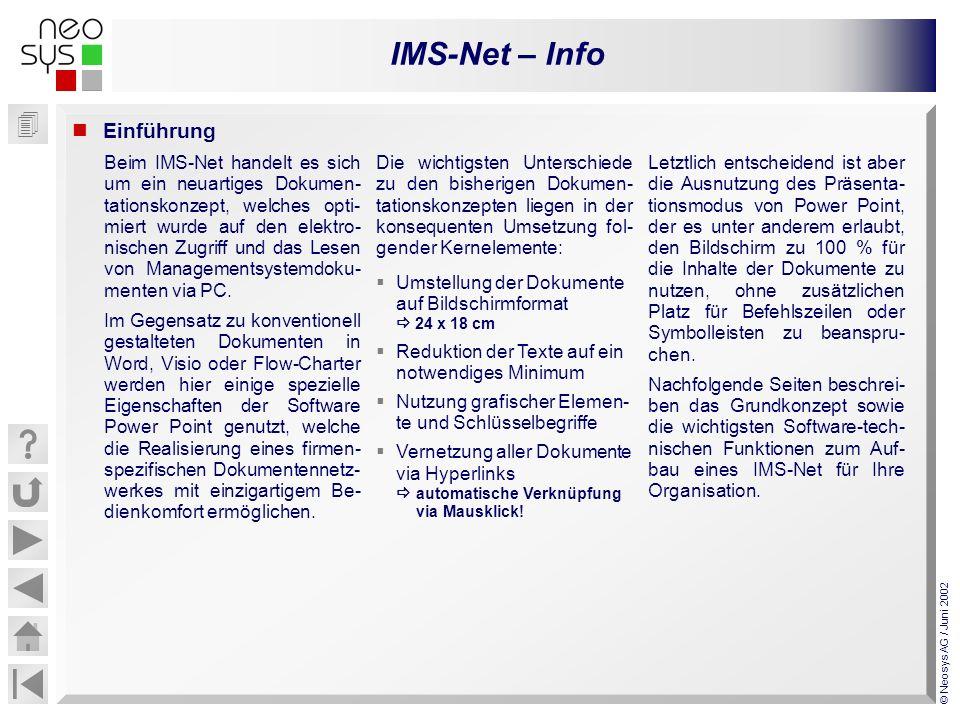 IMS-Net – Info © Neosys AG / Juni 2002 Einführung Beim IMS-Net handelt es sich um ein neuartiges Dokumen- tationskonzept, welches opti- miert wurde au