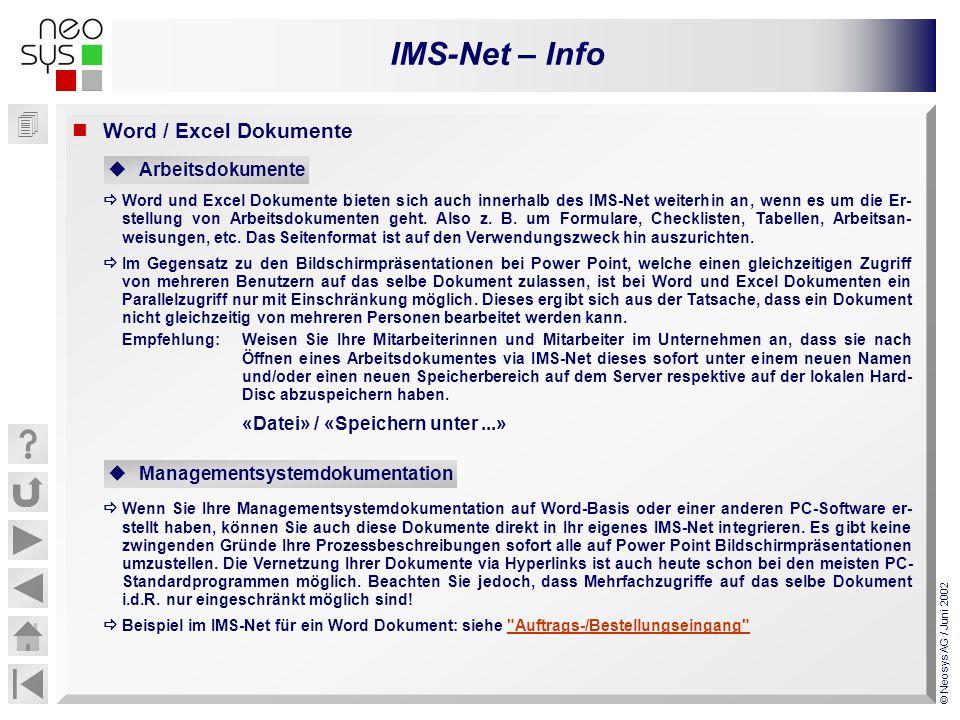 IMS-Net – Info © Neosys AG / Juni 2002 Word / Excel Dokumente Word und Excel Dokumente bieten sich auch innerhalb des IMS-Net weiterhin an, wenn es um