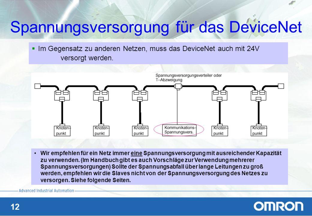 12 Spannungsversorgung für das DeviceNet Im Gegensatz zu anderen Netzen, muss das DeviceNet auch mit 24V versorgt werden. Wir empfehlen für ein Netz i