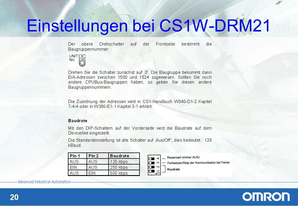 20 Einstellungen bei CS1W-DRM21