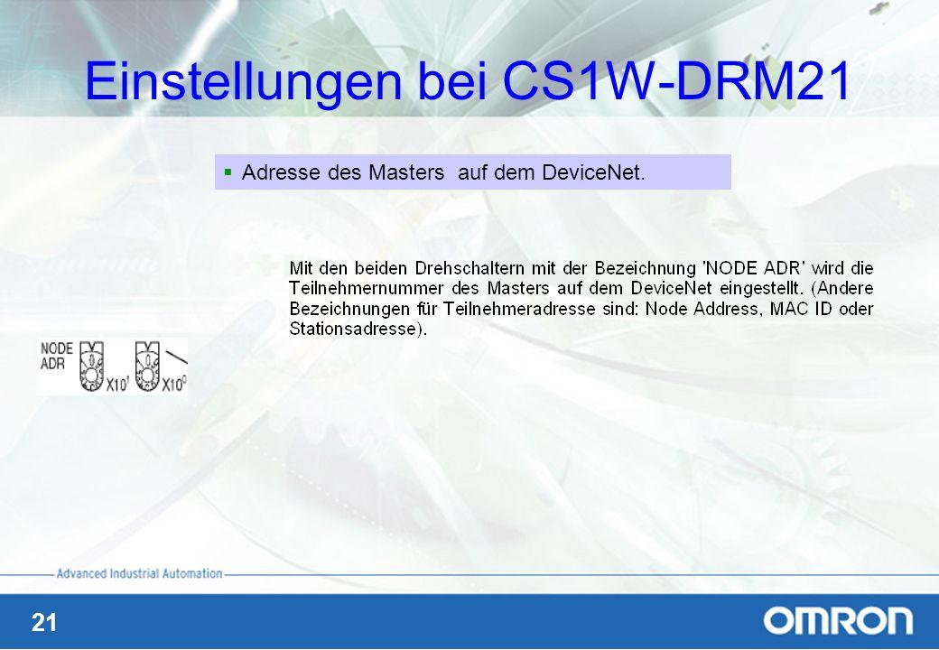 21 Einstellungen bei CS1W-DRM21 Adresse des Masters auf dem DeviceNet.