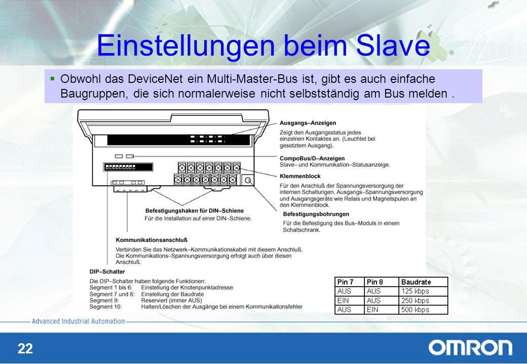 22 Einstellungen beim Slave Obwohl das DeviceNet ein Multi-Master-Bus ist, gibt es auch einfache Baugruppen, die sich normalerweise nicht selbstständi