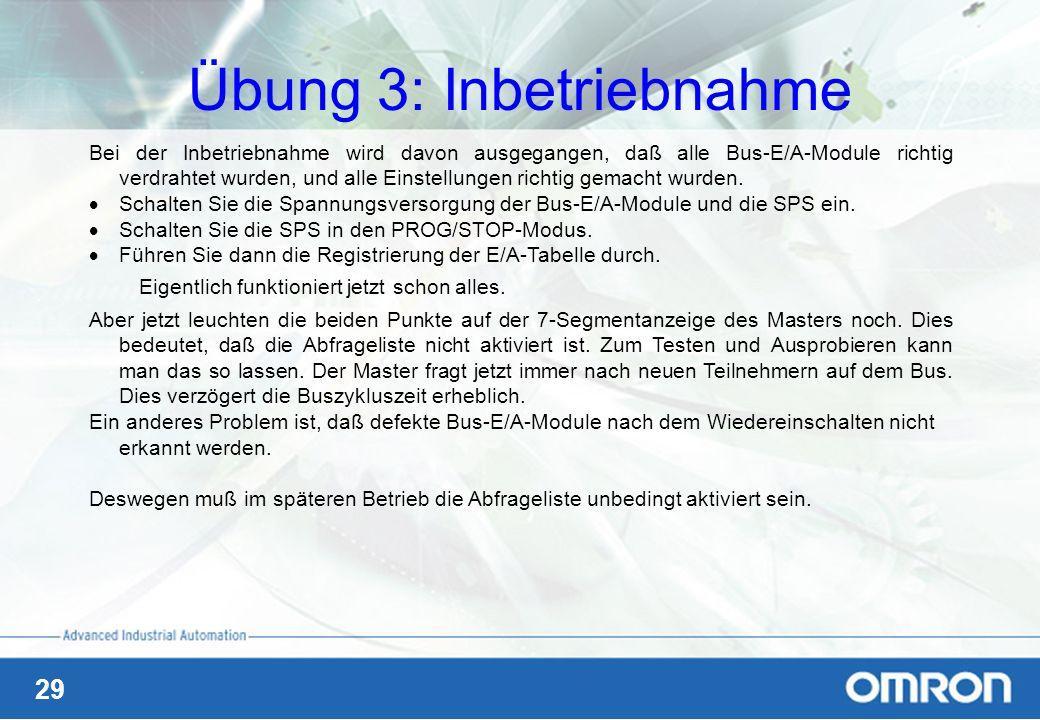 29 Übung 3: Inbetriebnahme Bei der Inbetriebnahme wird davon ausgegangen, daß alle Bus-E/A-Module richtig verdrahtet wurden, und alle Einstellungen ri