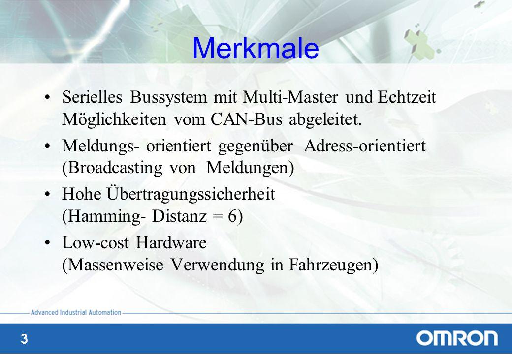3 Merkmale Serielles Bussystem mit Multi-Master und Echtzeit Möglichkeiten vom CAN-Bus abgeleitet. Meldungs- orientiert gegenüber Adress-orientiert (B