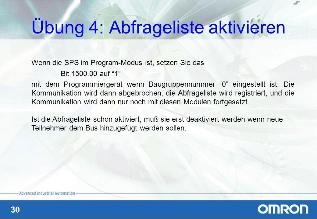 30 Übung 4: Abfrageliste aktivieren Wenn die SPS im Program-Modus ist, setzen Sie das Bit 1500.00 auf 1 mit dem Programmiergerät wenn Baugruppennummer