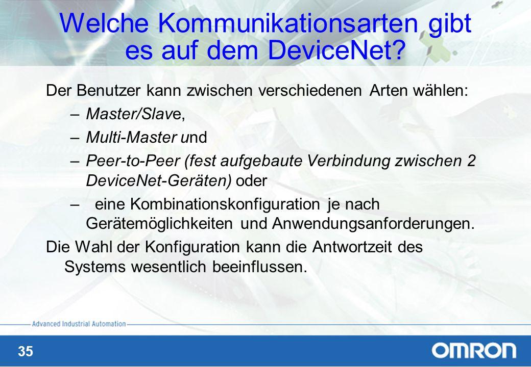 35 Welche Kommunikationsarten gibt es auf dem DeviceNet? Der Benutzer kann zwischen verschiedenen Arten wählen: –Master/Slave, –Multi-Master und –Peer