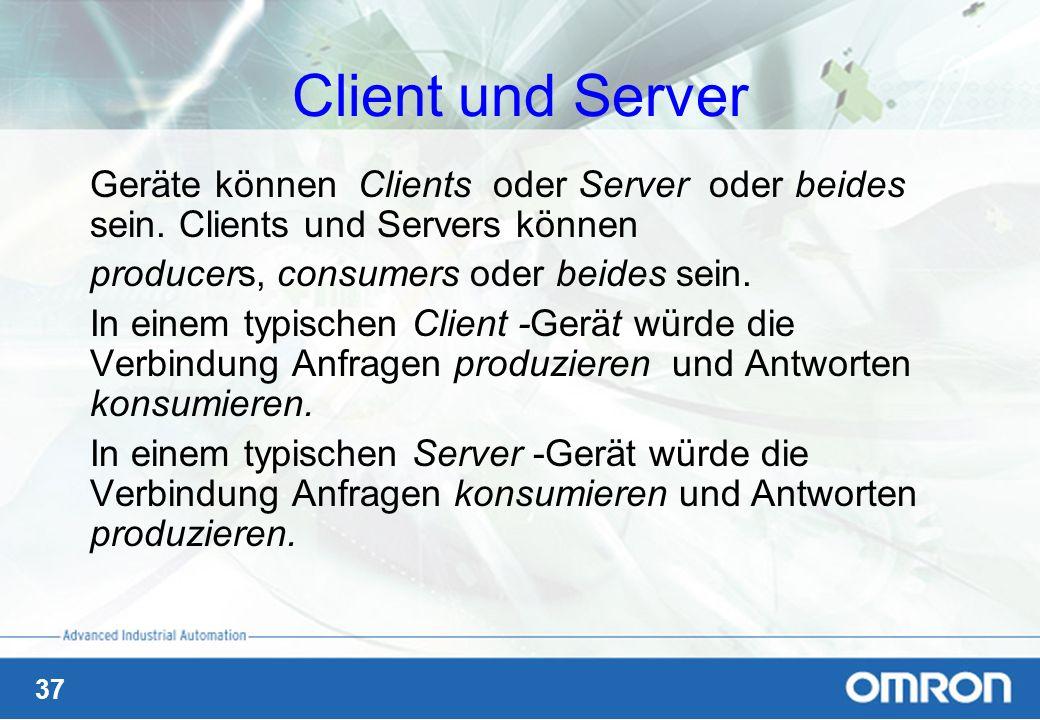 37 Client und Server Geräte können Clients oder Server oder beides sein. Clients und Servers können producers, consumers oder beides sein. In einem ty