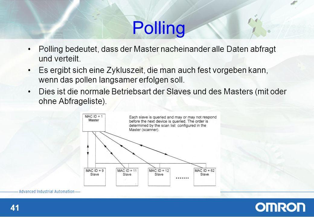 41 Polling Polling bedeutet, dass der Master nacheinander alle Daten abfragt und verteilt. Es ergibt sich eine Zykluszeit, die man auch fest vorgeben
