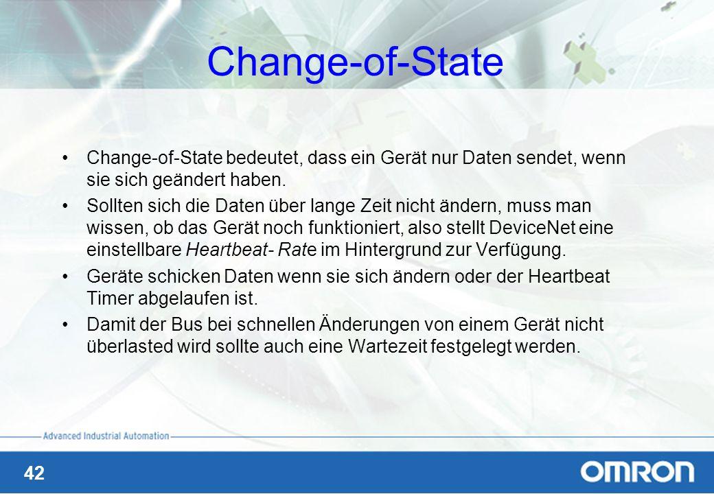 42 Change-of-State Change-of-State bedeutet, dass ein Gerät nur Daten sendet, wenn sie sich geändert haben. Sollten sich die Daten über lange Zeit nic